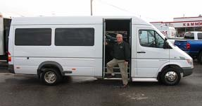 Jim Fouts, Account Mgr. at K & M Dodge/Sprinter with upfitted Dodge Sprinter Passenger Van